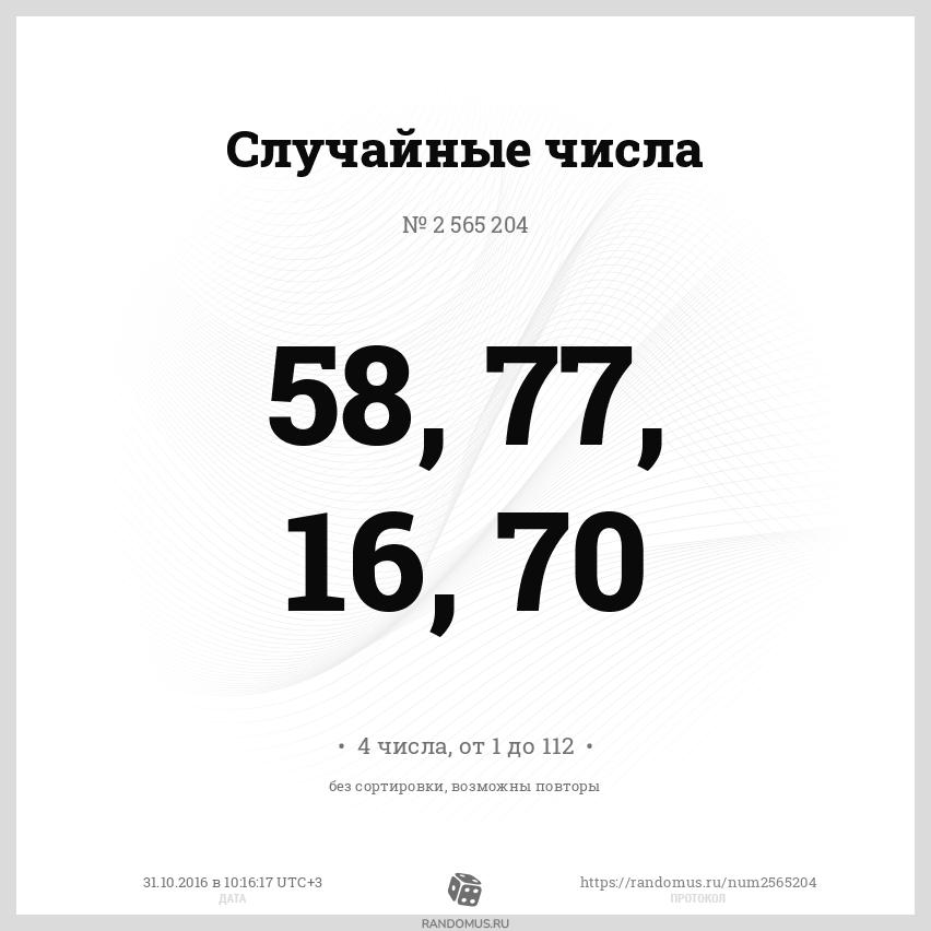 Случайные числа № 2565204