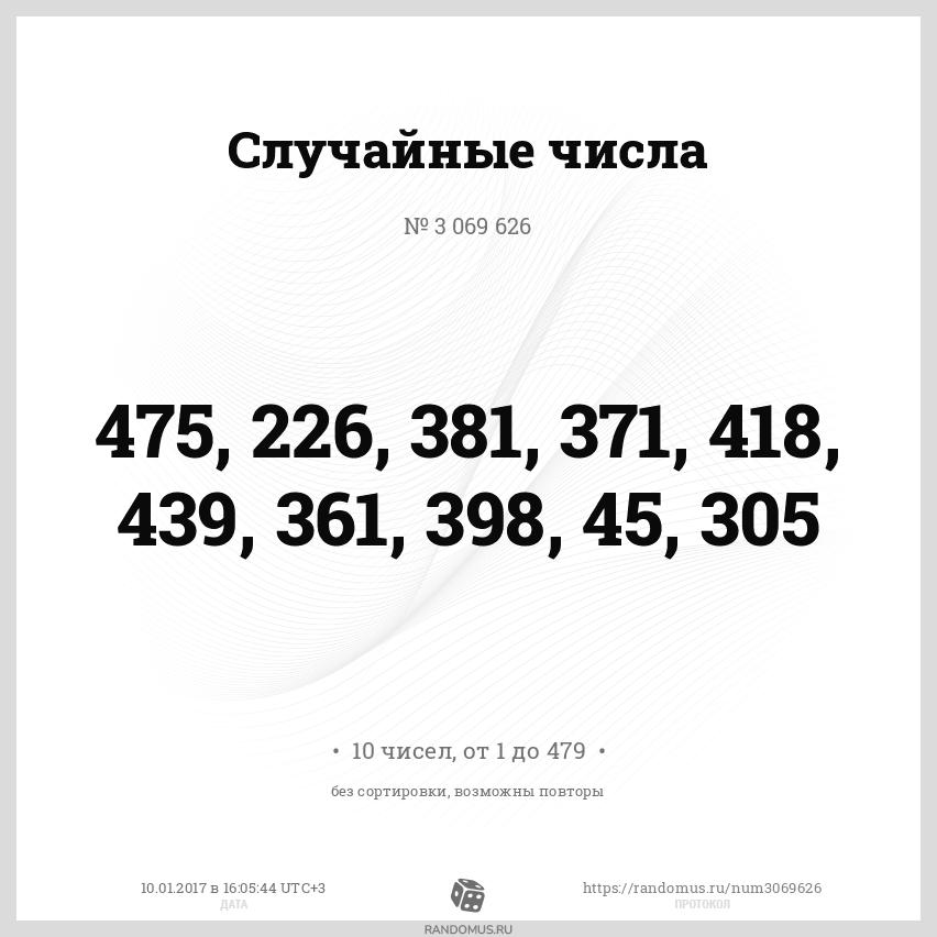 Случайные числа № 3069626