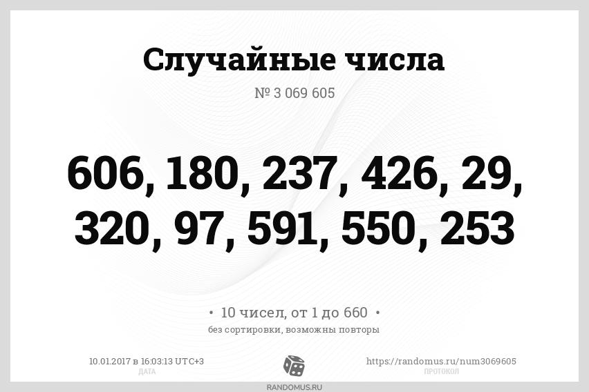 Случайные числа № 3069605