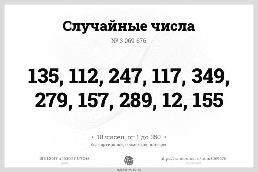 Случайные числа № 3069676