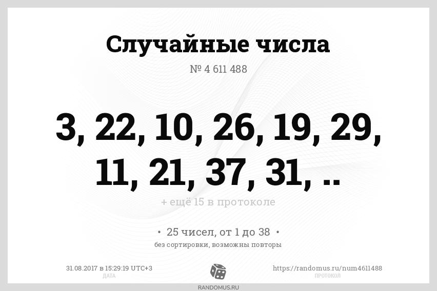 Случайные числа № 4611488