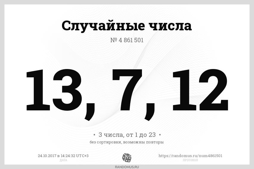 Случайные числа № 4861501