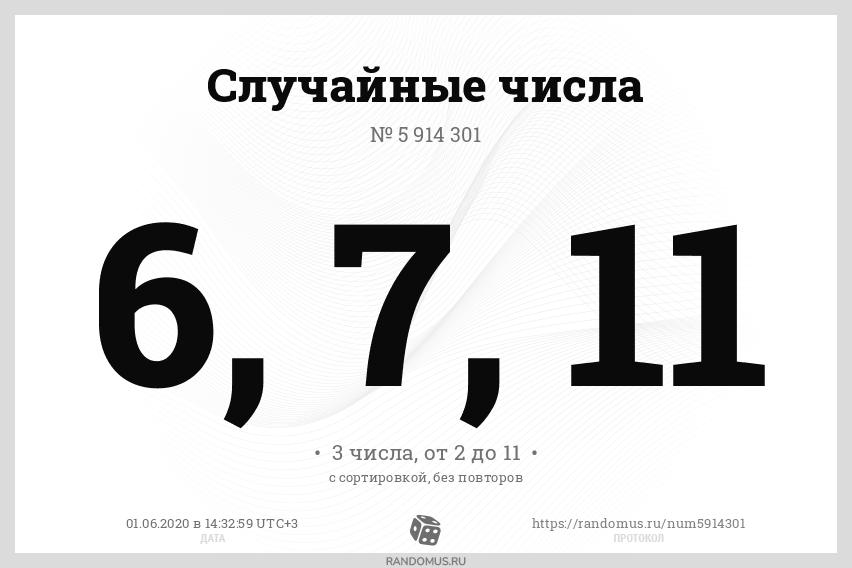 Случайные числа № 5914301