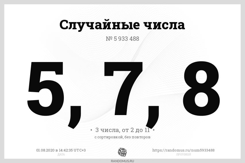Случайные числа № 5933488